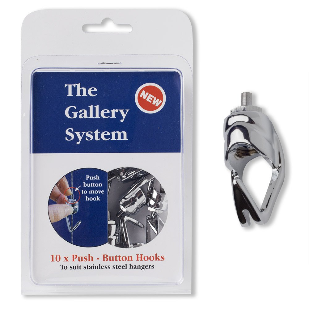 Picture Rail Molding Hook Art Hangers, Gallery Quality, Instantly Adjustable: 10 Brass Hangers with 6.5-Foot Cables, 10 Picture Hooks by Gallery System Art Displays (Image #4)