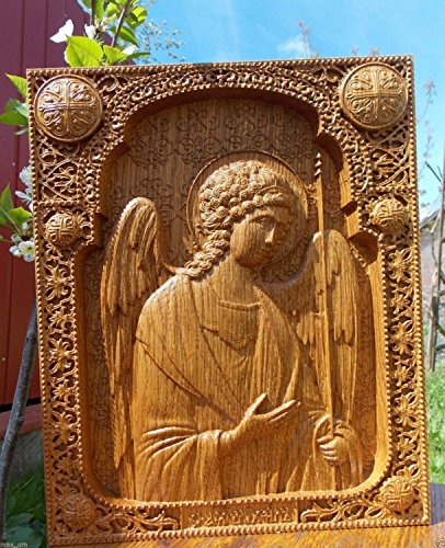 Archangel Michael Icon Personalized Wood Carved religious gift FREE ENGRAVING FREE SHIPPING - Oak Tree Arch