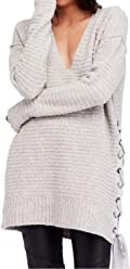 Free People Womens Small Lace up Ribbed Tunic Sweater