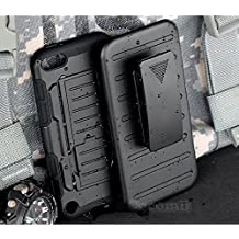 iPod Touch 6 / 5 Case, Cocomii Robot Armor NEW [Heavy Duty] Premium Belt Clip Holster Kickstand Shockproof Hard Bumper Shell [Military Defender] Full Body Dual Layer Rugged Cover Apple (Black)