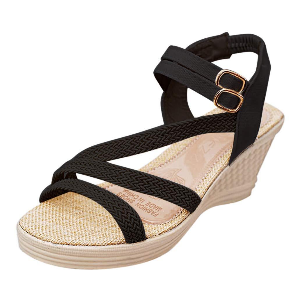 Women's Shoes for Women,SYHKS Women's Fashion Casual Roma Plain Buckle Platform High Heel Shoes Wedges Sandles for Women(Black,38