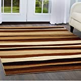 Home Dynamix Tribeca Jayden Area Rug | Contemporary Living Room Rug | Abstract-Striped Patterns | Soft and Cozy Texture | Brown 3 Piece Set 5'2″ x 7'2″, 19.6″ x 31.5″, 1'6″ x 7'2″ Runner For Sale