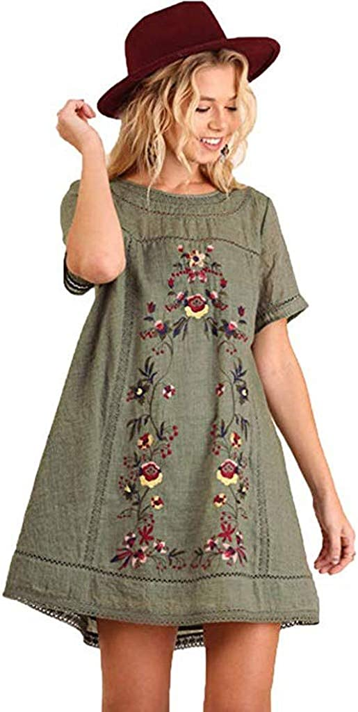 Henwerd Womens Summer Casual Boho Embroidered Floral Print Slim Short Sleeve O-Neck Dress