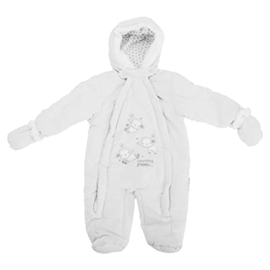 9381ab11d Baby Unisex Counting Sheep All In One Hooded Winter Snowsuit (0-3 Months)  (White): Amazon.co.uk: Clothing