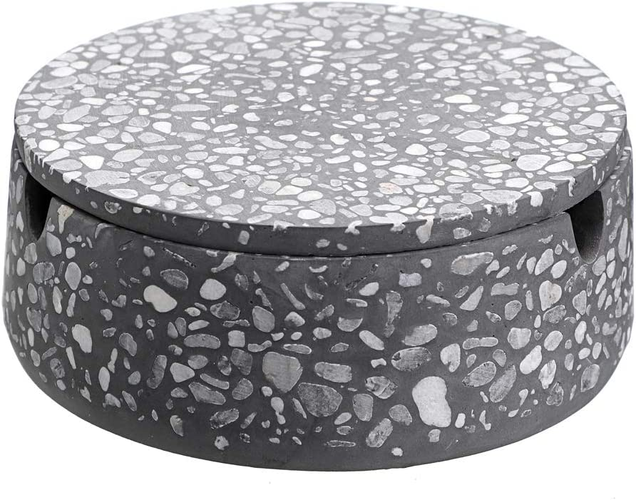 Hipiwe Terrazzo Ashtray with Lid Stainless Steel Liner, Desktop Cigarette AshTray Holder for Indoor or Outdoor Use, Office Home DecorWindproof Tobacco Ash Tray for Patio