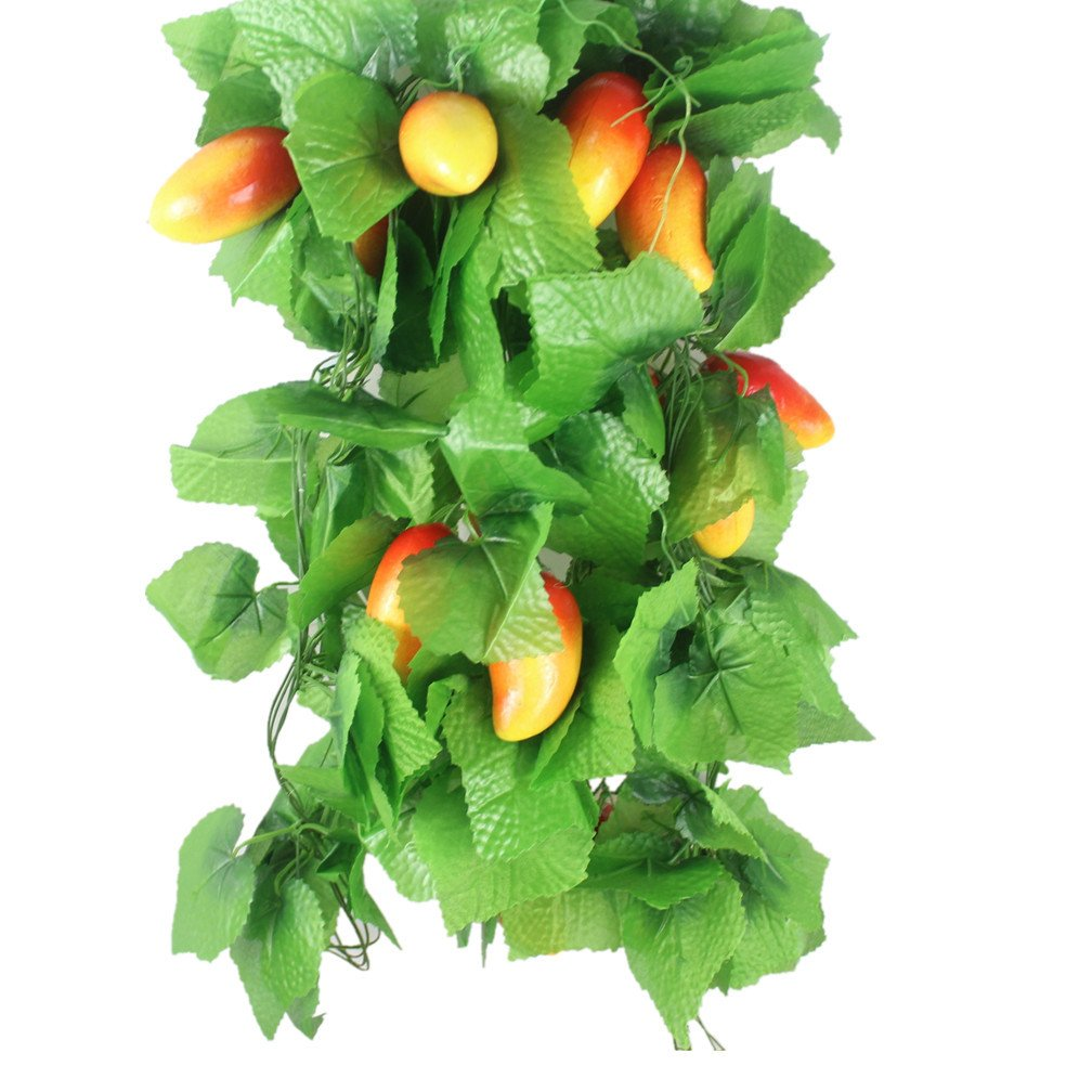 Mynse 5 Pieces 95'' Fake Fruit String Home Garden Fence Market Decoration Artficial Mango and Vines