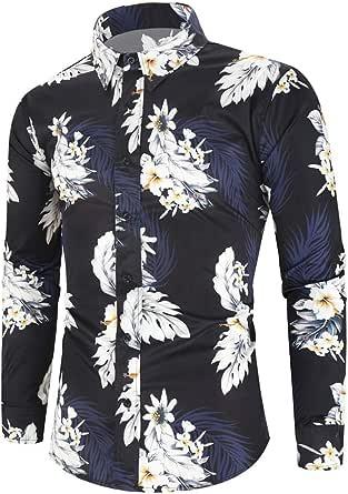 Camisas de Hombre Camisa Casual de Manga Larga con Estampado ...