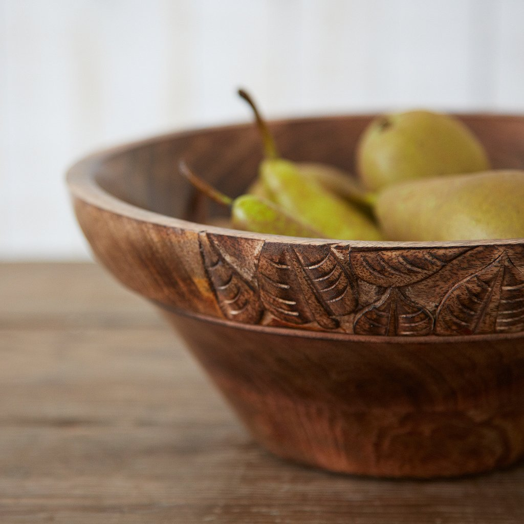 Paper High Natural Wooden Bowl With Leaf Design 255 mm diameter, 100 mm height