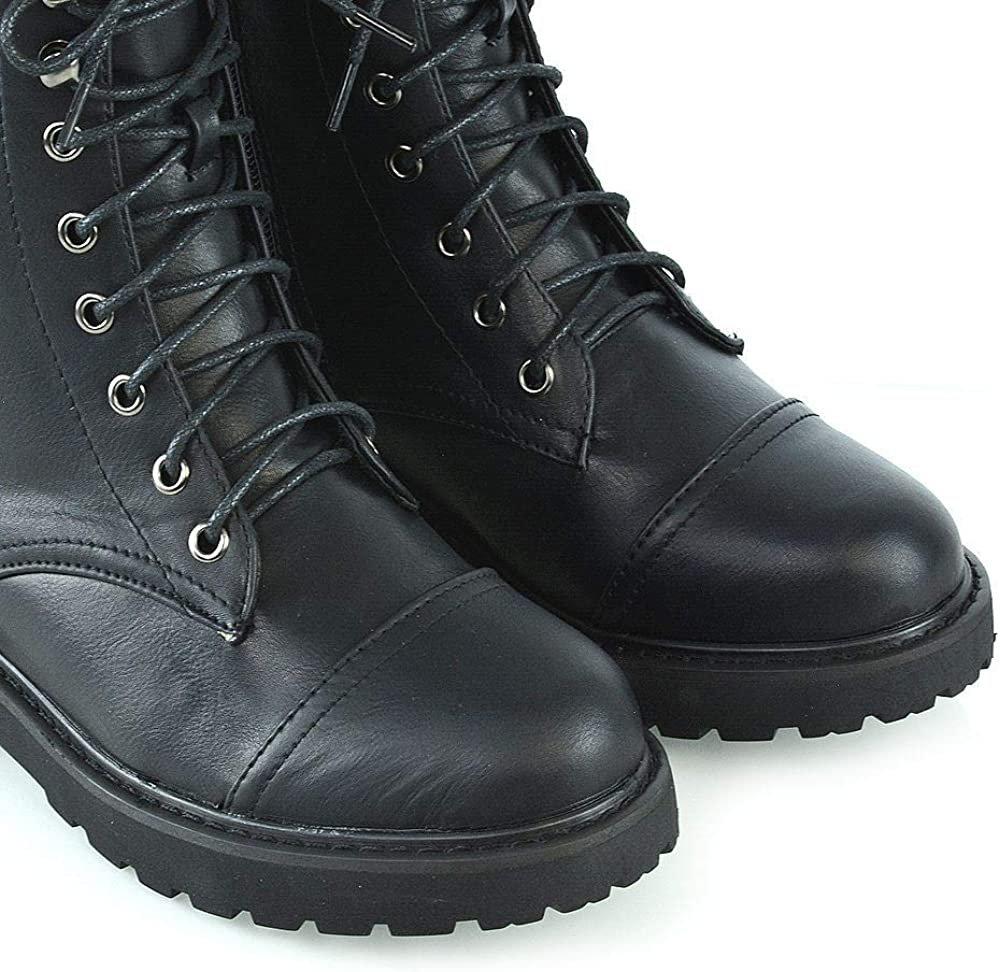 ESSEX GLAM New Womens Biker Ankle Boots Ladies Lace Up Side Zip High Top Shoes Size 3-8