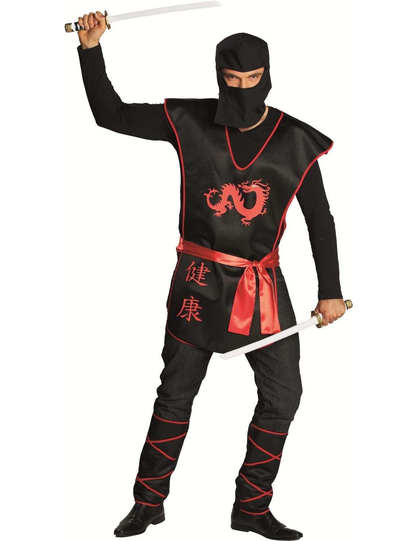 Mens Black Ninja Japan Samurai Warrior Outfit Fancy Dress ...