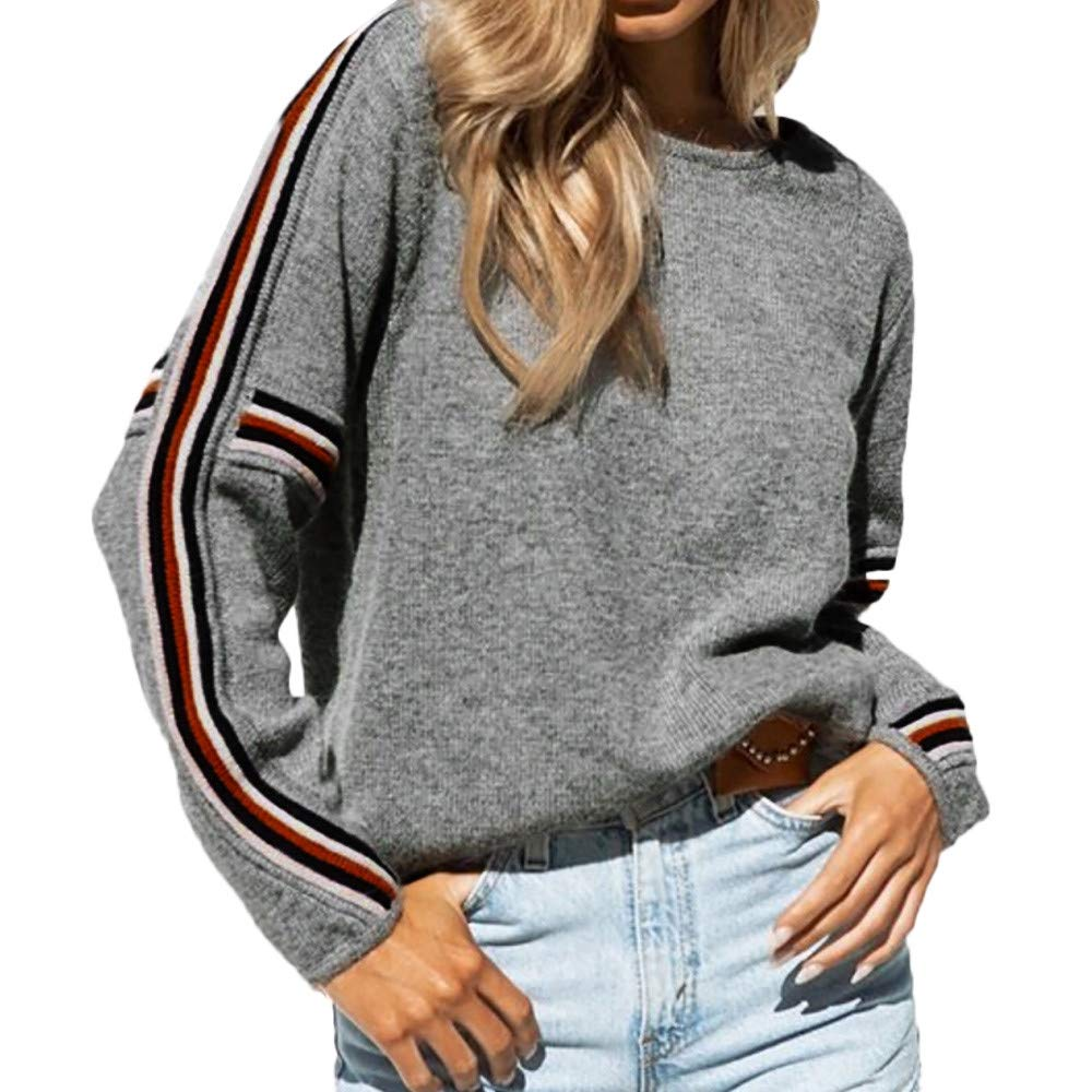 T-Shirt, Polo e Top.Yesmile,Donna Inverno Manica Lunga Maglia A Strisce Patchwork Maglione Top Camicetta T Shirt,Polyester,Poncho e Mantelle