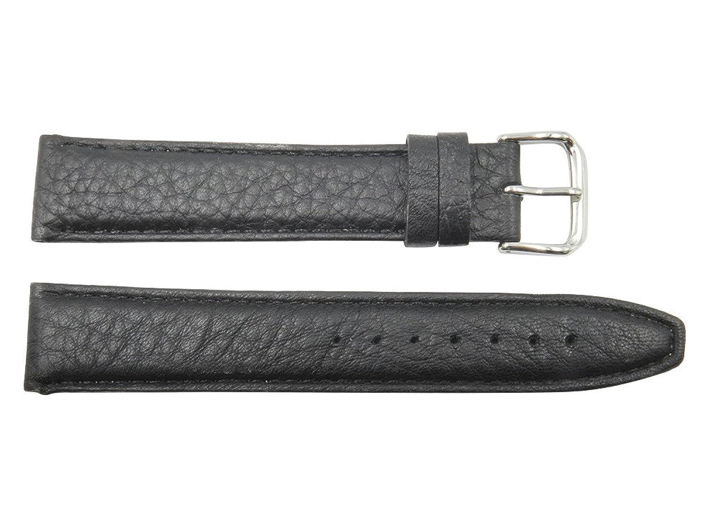 22 mm Black Genuine Texturedレザー交換用時計バンド  B073QYDK7C