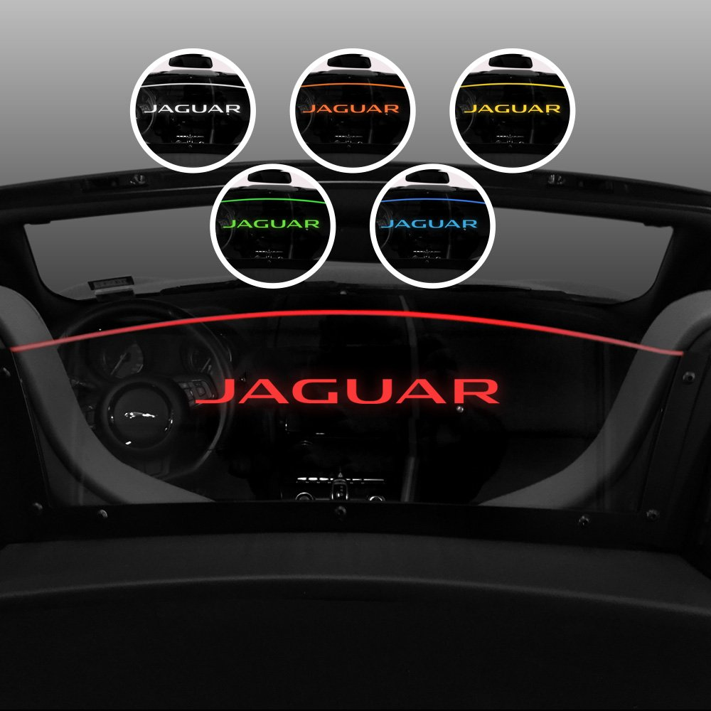 Windrestrictor - Wind Deflector for Convertible Compatible with 2013-2018 Jaguar F-Type - Red Led Lighting - Option 3