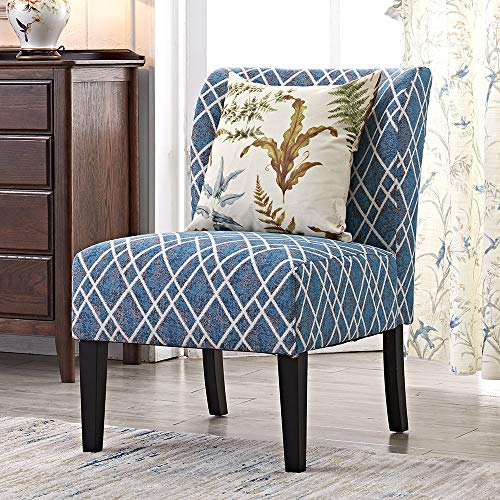 Modern Accent Chair Set of 2 Blue Floral Armless Chairs Stripes Polyester Fabric Upholstered Decor Furniture Living Room Side with Solid Wood Legs (Stripes(1 PCS))