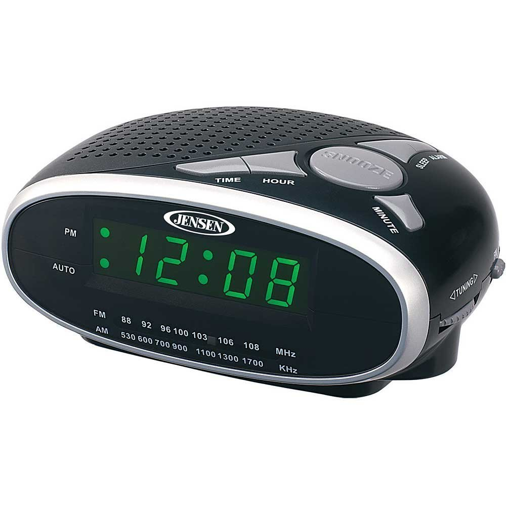 Jensen Compact AM/FM Alarm Clock Radio with Large Easy to Read Backlit LED Display Plus 6ft Aux Cable to Connect Any Ipod, Iphone or Mp3 Digital Audio ...