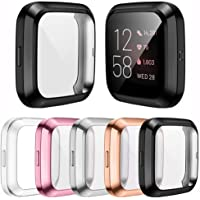 [5-Pack]Screen Protector Case Compatible with Fitbit Versa 2 Smartwatch, All-Around TPU Plated Protective Cover Scratch…
