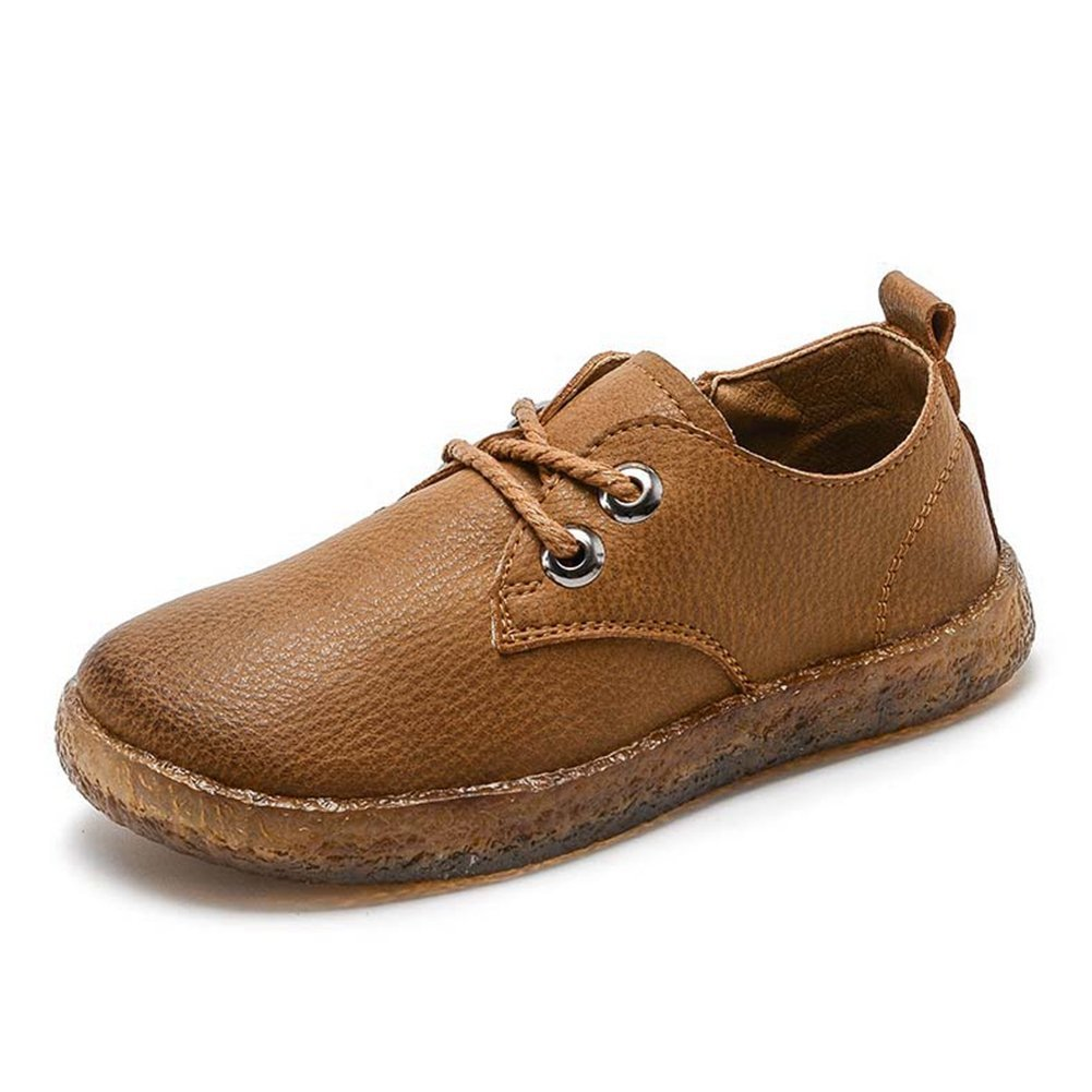 F-OXMY Kids Comfort Soft Lace-up Casual Shoes Boys Anti-Slip Rubber Outsole Oxfords Dress Shoes Brown