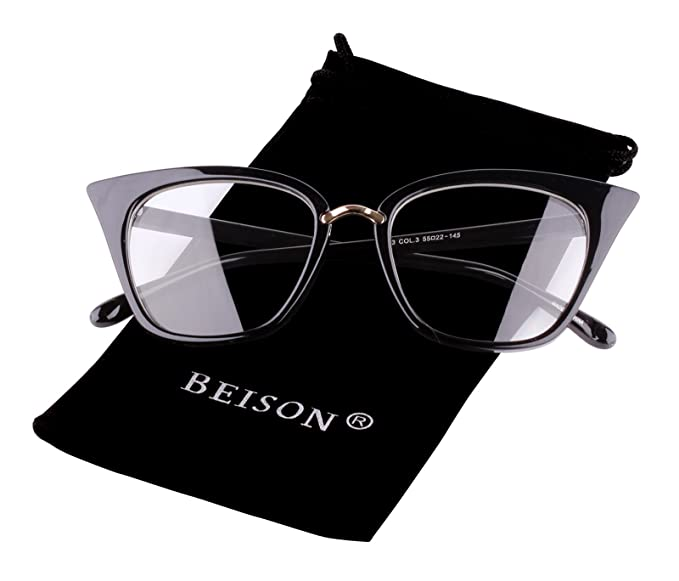 Amazon.com: Beison Womens Cat Eye Mod Fashion Eyeglasses Frame Clear ...
