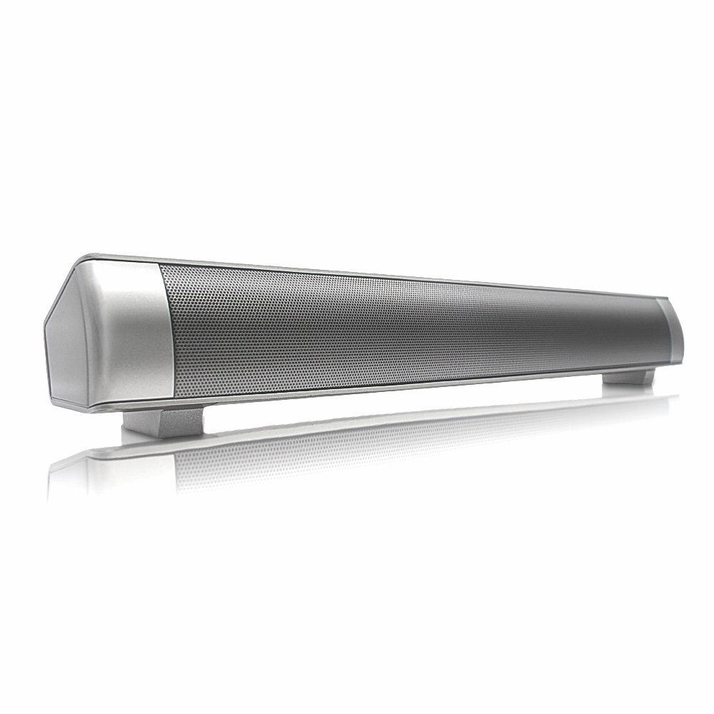 Wireless Sound Bar, Manfore Soundbar Built-in Subwoofer Multifunctional Speaker Support TF Card / 3.5mm Aux-in Bluetooth Sound Bar Speaker with Remote (Silver)