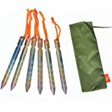 TiTo Titanium V-Shaped Windproof Tent Stakes camping accessories tent peg with size 10X10X160mm (Pack of 6)