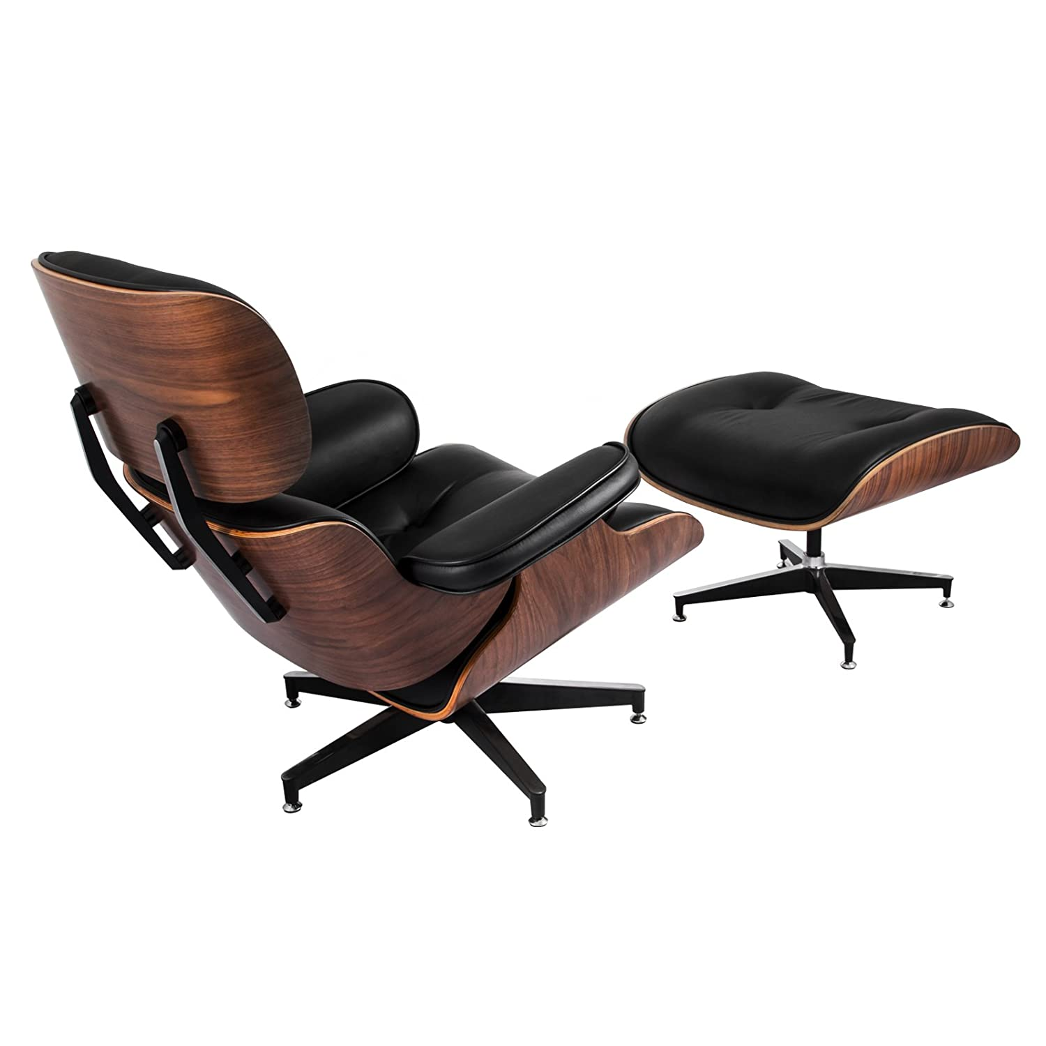 Happybuy Lounge Chair with Ottoman Mid Century Modern Recliner Chair Walnut Black Living Room PU Leather Recliner Armchair with Foot Stool Ottoman