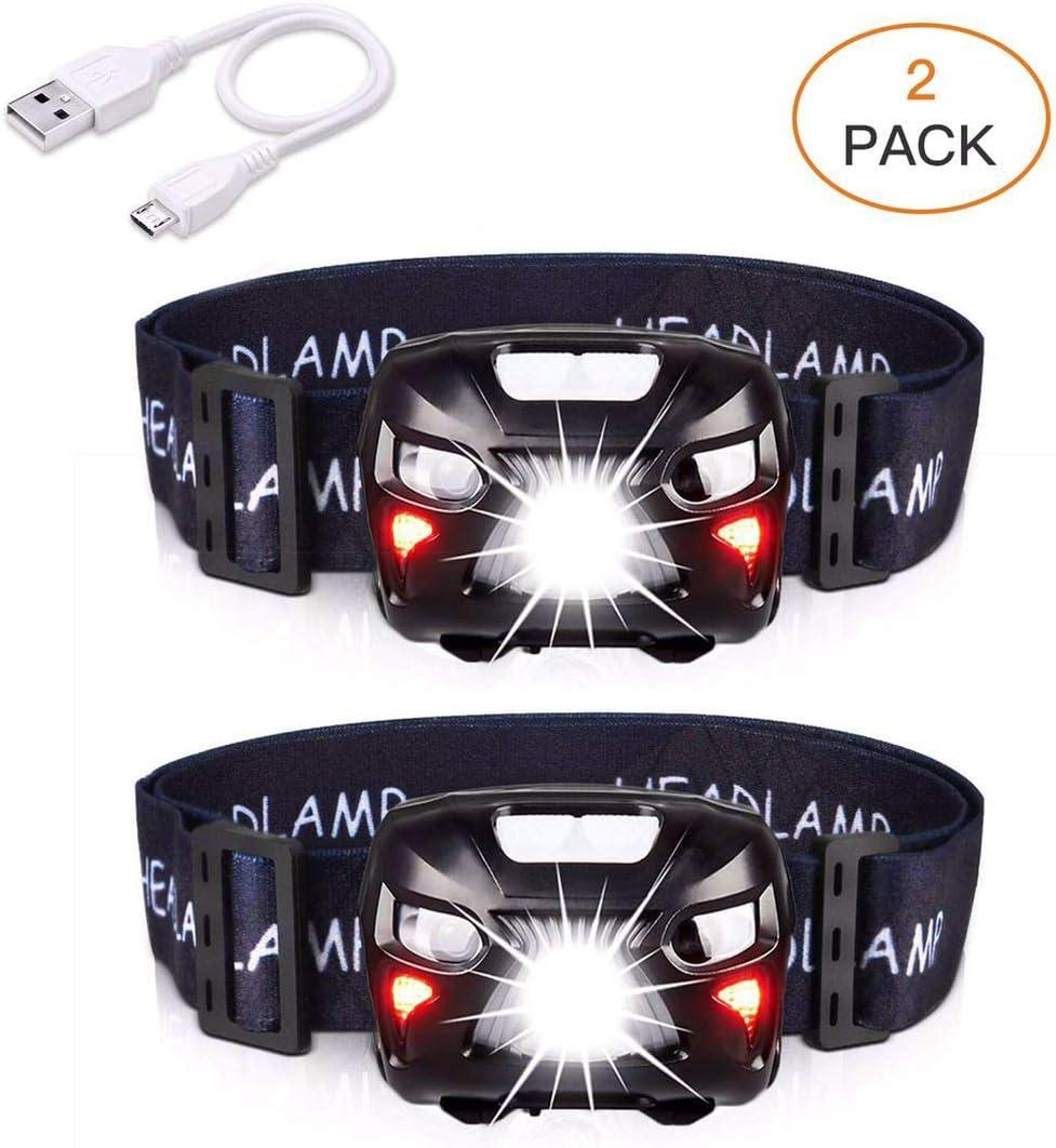 APUNOL 2 Unidades Linterna Frontal LED USB Recargable, Linternas Cabeza 400 Lúmenes, Sensor Inteligente, 8 Modos de Iluminación, Impermeable, Blanco y Rojo LED para Correr, Acampar, Cenderismo