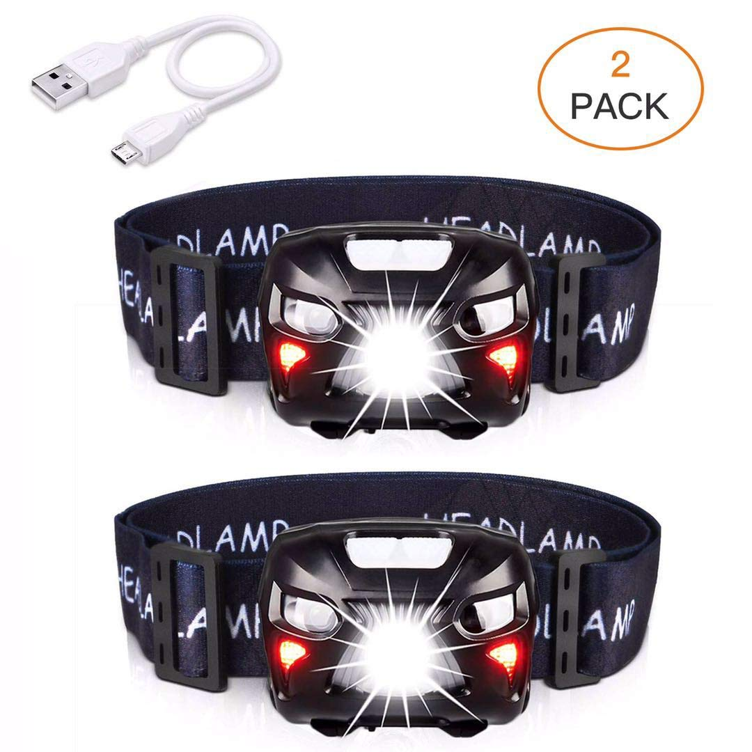 AIPROV 2-Pack Headlamp Flashlight Rechargeable Waterproof LED Head Lamps 400 Lumens, 8 Modes With White Red Light, Motion Sensor Switch, Lightweight Headlight For Camping Hiking Running