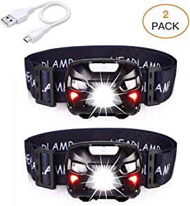 APUNOL Headlamp Flashlight [2 Pack] - 400Lumens, LED Head Lamps USB Rechargeable Waterproof, 8 Modes with White Red Light, Motion Sensor Switch, Lightweight Headlight for Camping Hiking Running