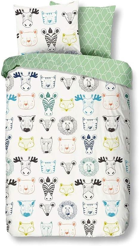 LesAccessoires Juego de sábanas para bebé/niños, Animales 120 x 150 cm, 100% algodón: Amazon.es: Bebé