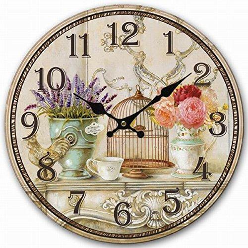 Retro Vintage Style Large Clock Bird Cage Lavender Flower Vase