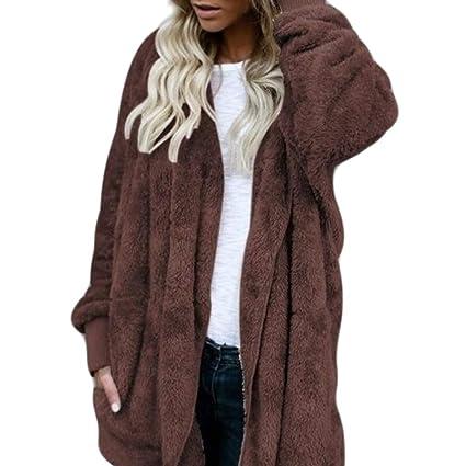 ad86fd191 Amazon.com: Yumian Women Coat Faux Fur Coat Hooded Cardigan Jacket ...