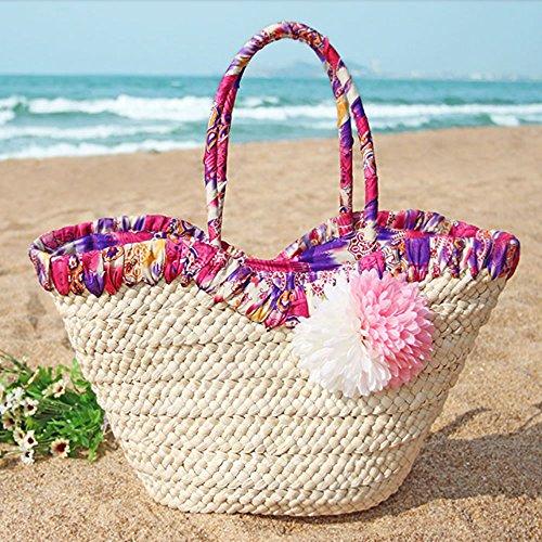 (ピースカフェ)PeaceCafeおしゃれ夏トレンドフラワーが可愛いレディースかごトートバッグチャック付き(ピンク)