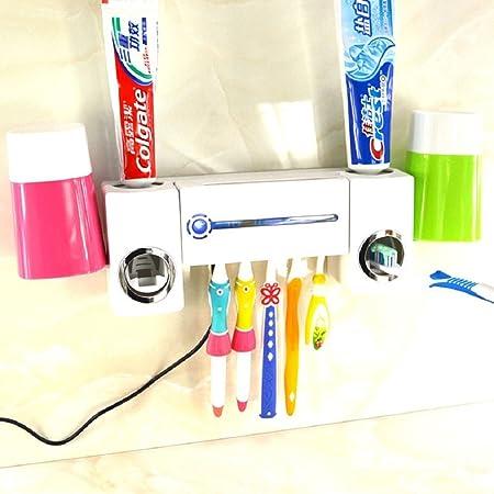 Mejor compartir® Kit de luz UV cepillo de dientes esterilizador desinfectante con pasta de dientes dispensador de 5 soportes para cepillo de dientes + juego ...