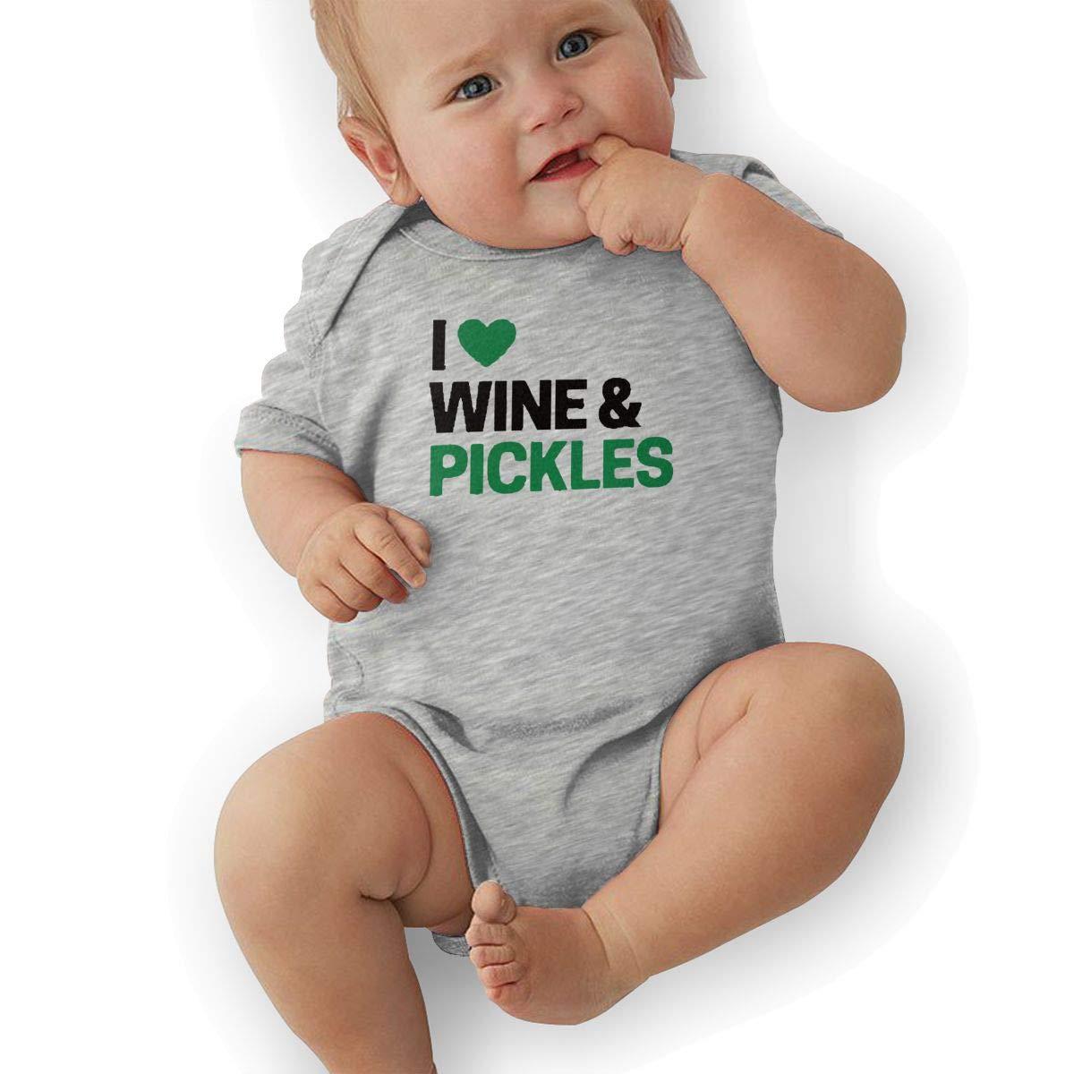 I Love Wine /& Pickles Retro Newborn Baby Short Sleeve Bodysuit Romper Infant Summer Clothing