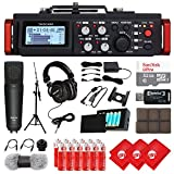 TASCAM 6-Track Linear PCM Digital Multitrack Audio Recorder/Mixer for DSLR Camera, Studio Microphone, Mixing Headphones, 32GB Micro SD Card, 3 pcs Microfiber Cloth and Accessory Bundle (DR-701D)