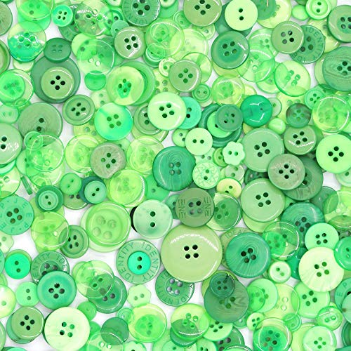 Esoca 650Pcs Green Buttons for Crafts Resin Green Craft Button Assorted Sizes for Sewing DIY Crafts Kid Manual Button Painting