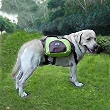 Dog Backpack Pet Adjustable Saddlebag Dog Harness Carrier Lightweight and Waterproof Removable Bags for Outdoor Travel Hiking Camping (XL, Green)