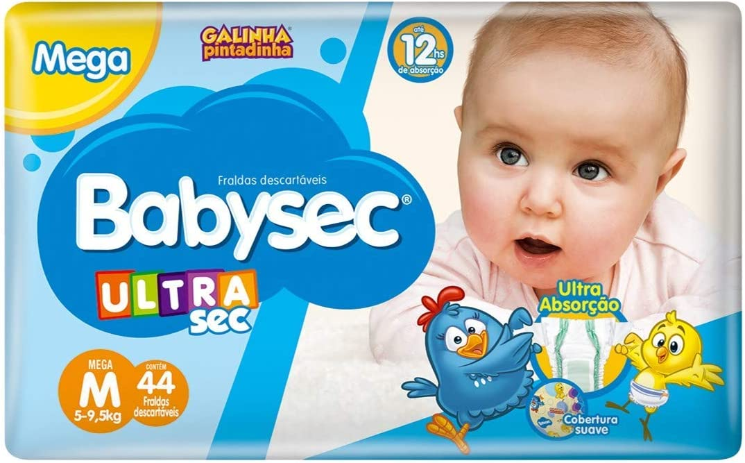 Fraldas descartáveis Babysec Ultrasec Galinha Pintadinha, 44 Unidades, Tamanho M 5 - 9,5 Kg