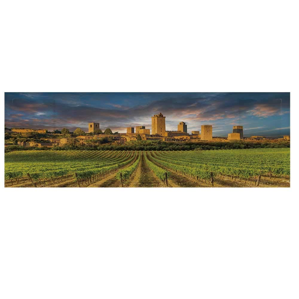 """Italy Dustproof Electric Oven Cover,Vineyards of San Gimignano Tuscany Historic Architecture Dramatic Sky Clouds Decorative Cover for Kitchen,36""""L x 12""""W"""