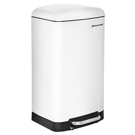 SONGMICS Basurero Cubo de Cocina Contenedor de residuos Cubeta Interior con Pedal 30 L Blanco LTB01W