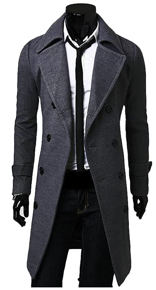 ilishop Men's Winter Slim Long Jacket Double Breasted Trench Coat DT-NFY9002