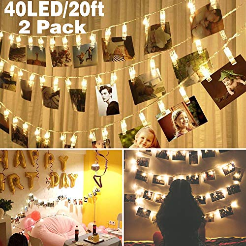 2 pack Halloween Decoration 40 LED Photo Clips String Lights Battery Operated Waterproof 20ft Fairy Light Long Lasting Indoor Girls Bedroom Hang Picture Outdoor Wedding Party Christmas Birthday Gift by Symfury
