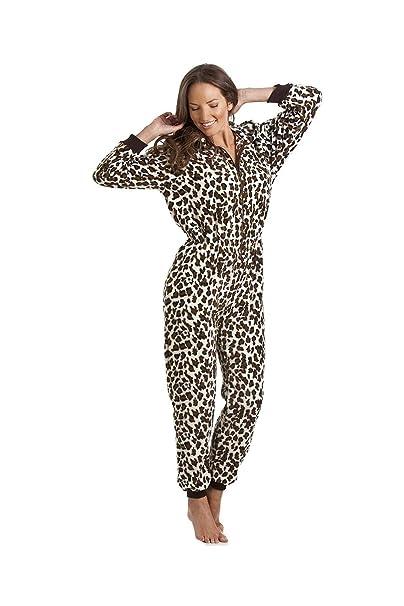 901d41840e9f Camille - Pigiama intero donna deluxe - in morbido pile motivo leopardo  delle nevi XXXXL: Camille: Amazon.it: Abbigliamento