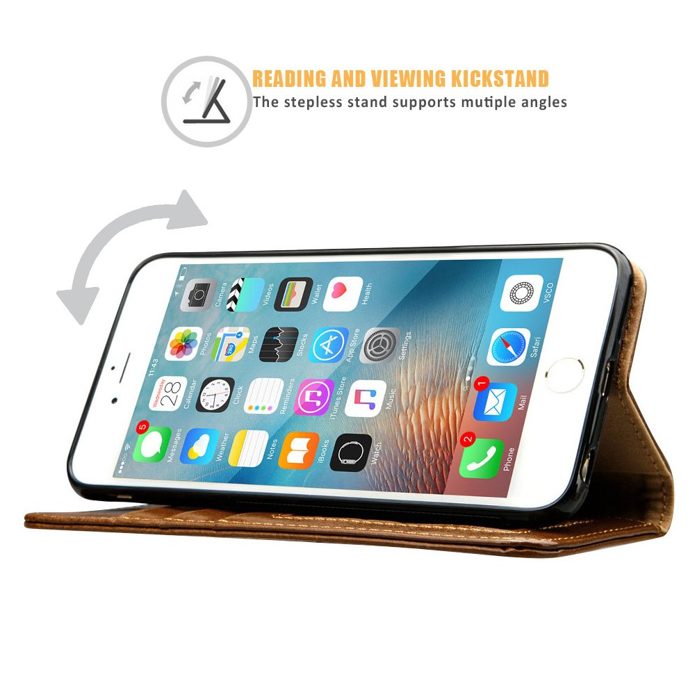 iPhone 6S Plus Wallet Case, Labato Genuine Leather Folio Flip Case Cover Magnetic Stand Function with Card Slots/Cash Compartment for Apple iPhone 6 Plus/ 6S Plus 5.5''- Brown (lbt-I6U-05Z20) by Labato (Image #6)