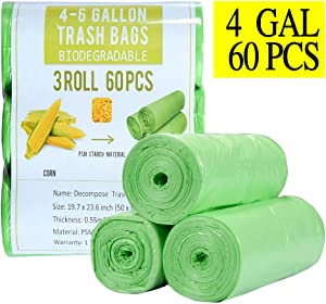 4 Gallon Small Trash Bags Biodegradable 60 Count, Compostable Trash Bags with Strong Tear & Leak Resistant, Recycling Eco-Friendly Garbage Bags for Office Bathroom Diaper Kitchen Car