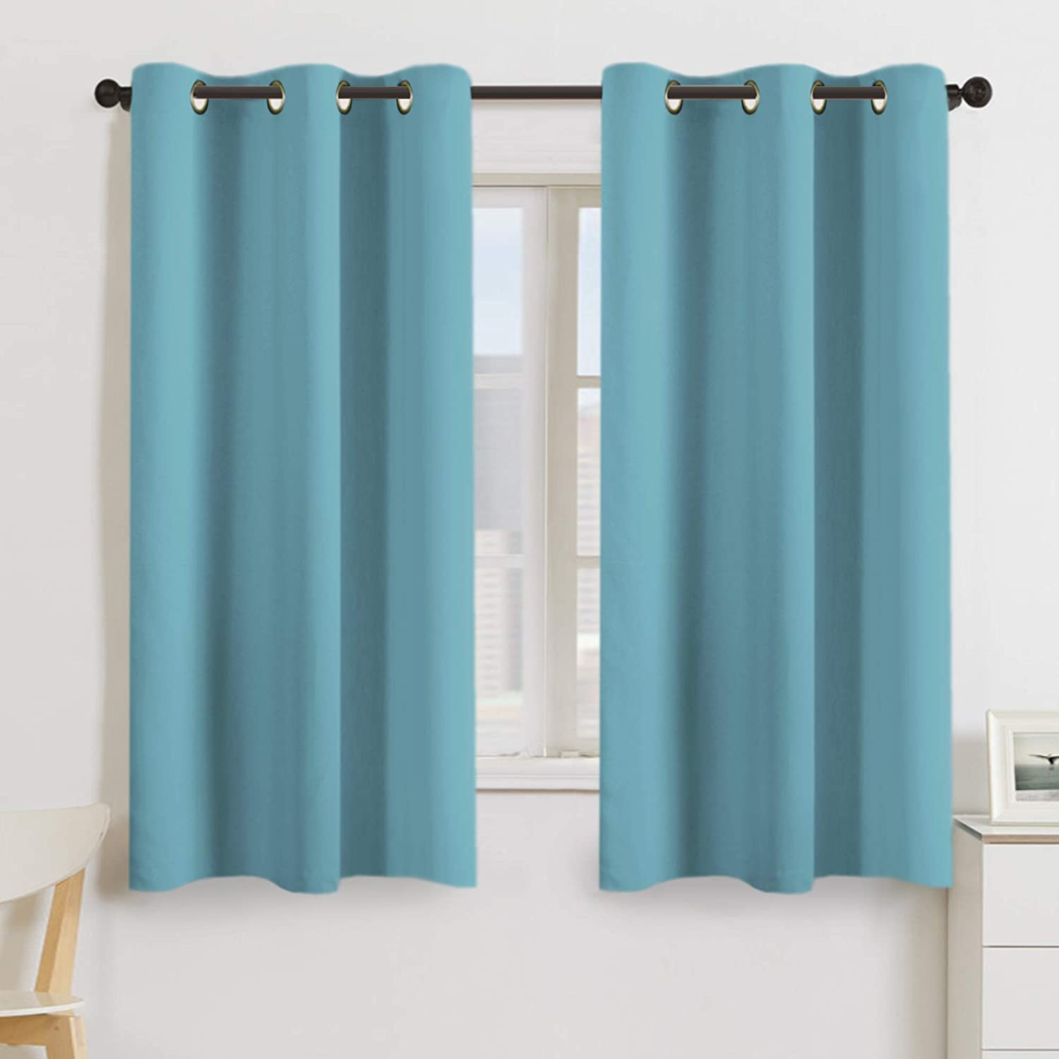 Turquoize Blackout Curtains Panels for Bedroom Ultra Soft Microfiber Noise Reducing Thermal Insulated Solid Grommet Window Drapes Two Panels, 42 x 63 Inch, Aqua