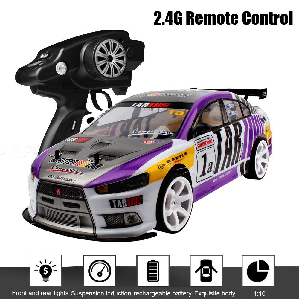 Lucoo Remote Control Car, RC Car Stunt Car Toy 1/10 /70km/h 2.4G High Racing Monster Truck RC Vehicle Sport Racing Model High Speed Car Electric Toy Car Gift for Kids Adults (Purple Plus) by Lucoo