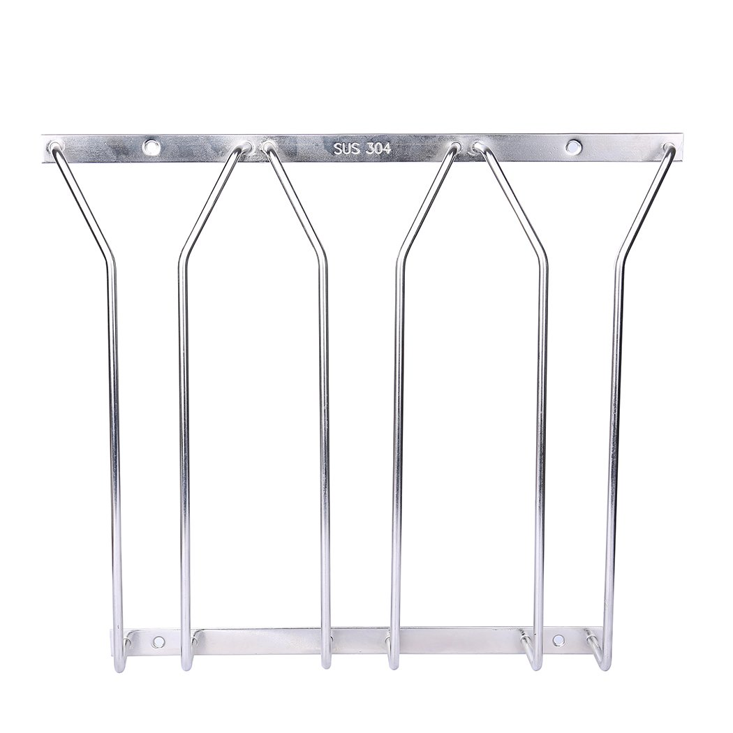 Dianoo 3 Row Wine Glass Rack Wire Hanging Rack Stainless Steel Stemware Rack Holder Under Cabinet 10.78 Inch
