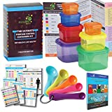 ALL IN ONE Portion Control Containers (7 Piece) Kit With 5 MEASURING SPOONS and COMPLETE Guide + 21 DAY FIX MEAL PLANNER and Recipes Cookbook PDFs. Multi-Colored Coded System, 100% Leak Proof!