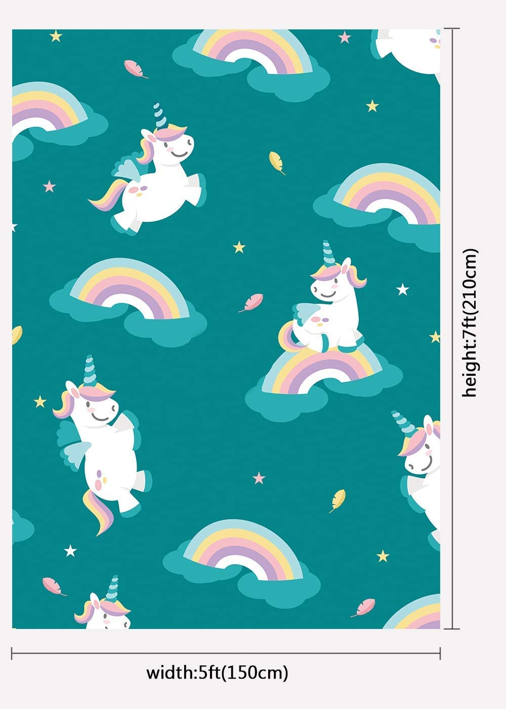 8x10ft Background Rainbow Unicorn Photography Backdrop Photo Studio Props LHFU066
